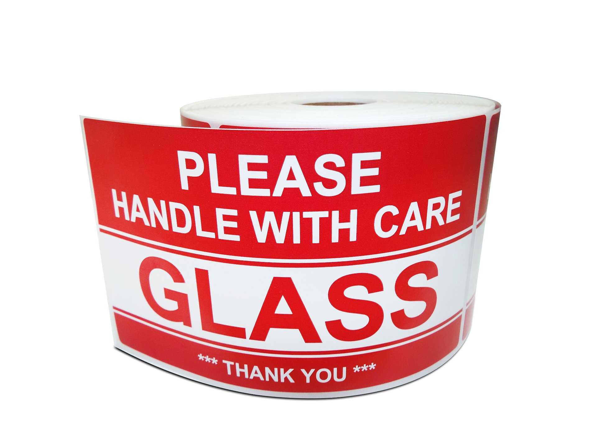 "3"" X 5"" Glass - Please Handle with Care - Thank You, Warning Shipping Labels (1 Roll, 500 Stickers/Roll)"