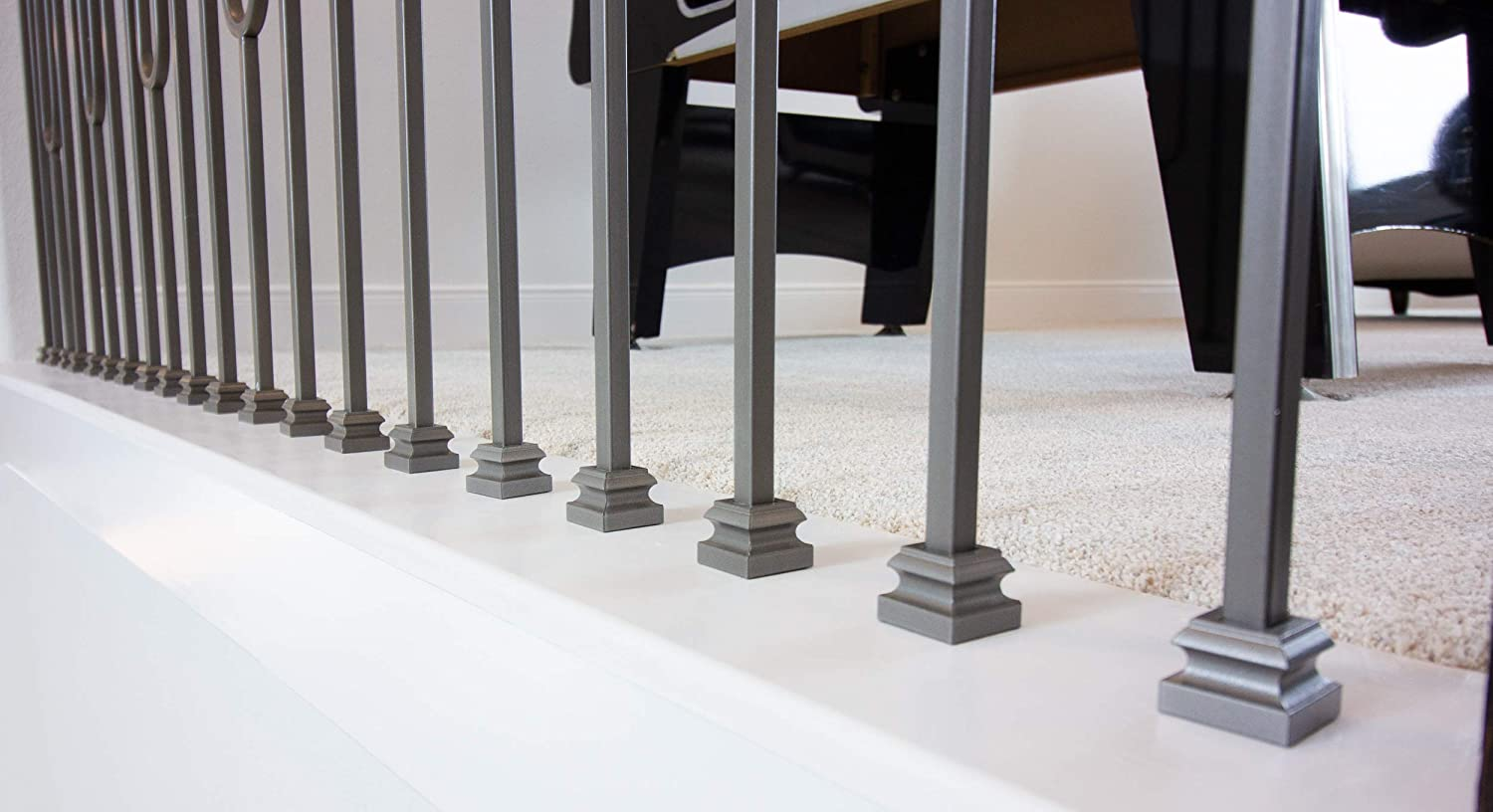 Box of 10 Ash Grey 16.3.19 1//2 Opening Flat Shoe Base Covers for Iron Balusters and Stair Remodeling