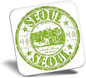 Destination Vinyl ltd Awesome Fridge Magnet - Seoul South Korea Travel Stamp 5811