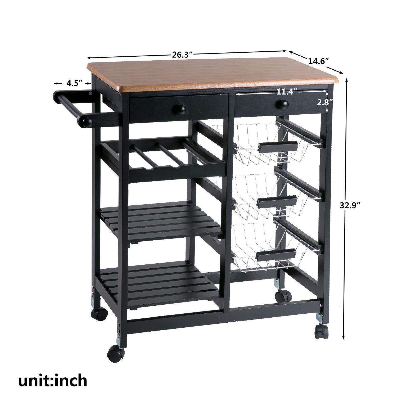 Merax WF036471BAA 26'' Portable Storage Island Kitchen Trolley Drawers, Microwave Cart, Black by Merax (Image #8)