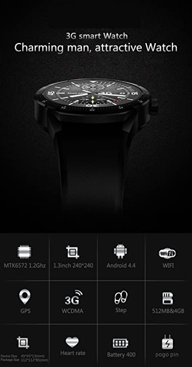 harrystore D6 3 G Smartwatch Android 5.1 MTK6580 Quad Core ...