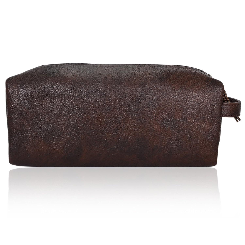 BROWN Zen Temple Premium Luggage Mens Vegan Leather Toiletry Bag