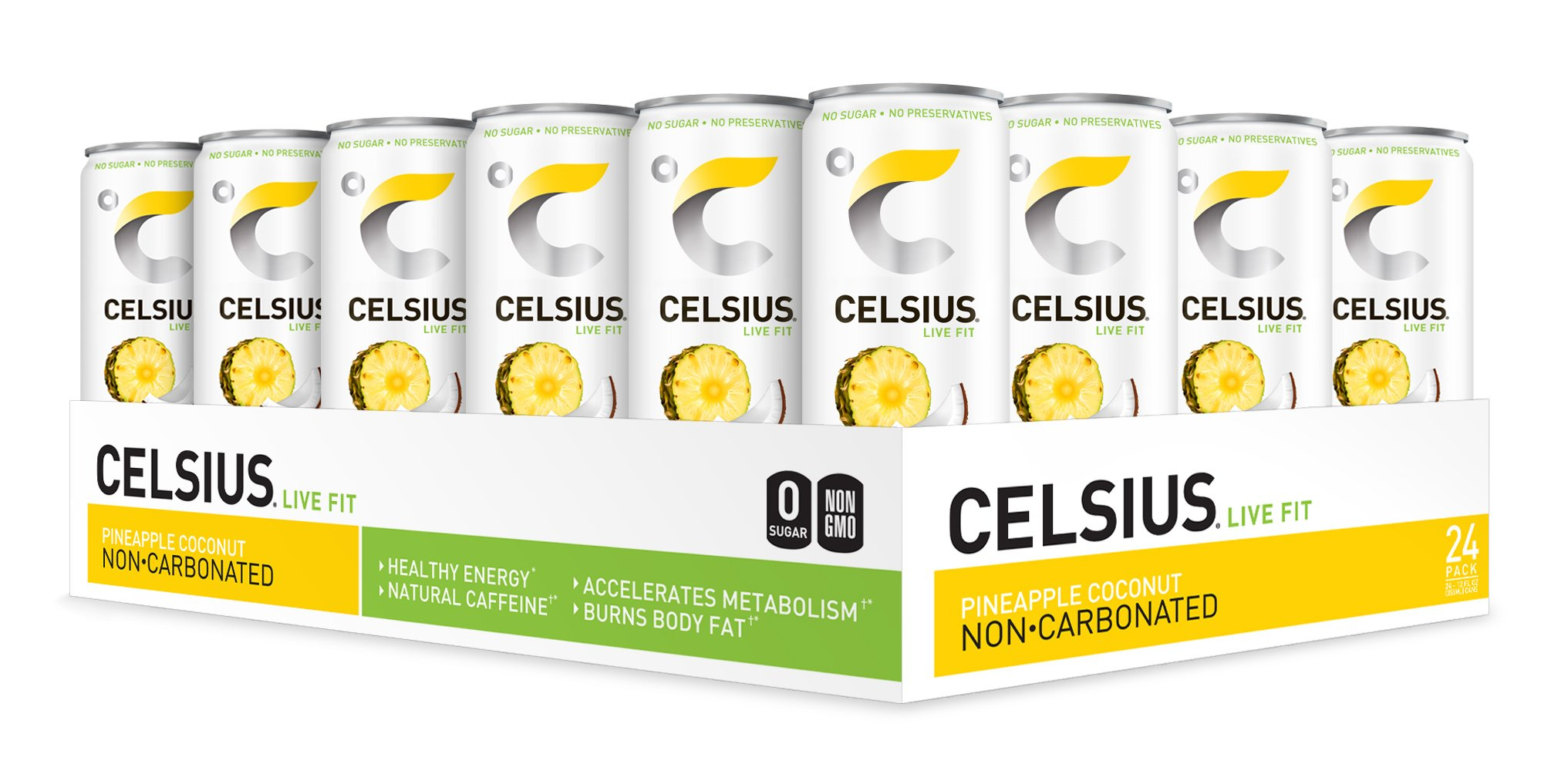 """CELSIUS """"Naturals"""" Pineapple Coconut Non-Carbonated Fitness Drink, ZERO Sugar, 12oz. Slim Can, 24 Pack"""