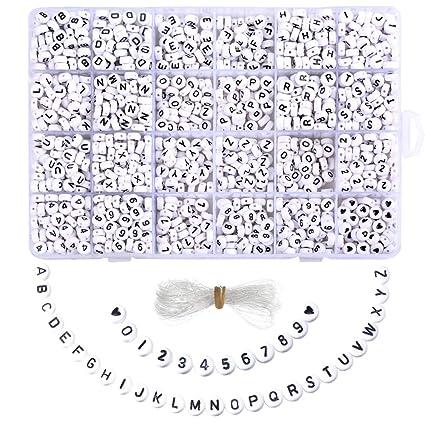 Mjartoria 1850 Stück Buchstabenperlen Perlen Buchstaben Zum Auffädeln Rund Weiss Acryl Alphabet Zahlen Herz Diy Zubehör Schmuck Basteln Mit Schnur