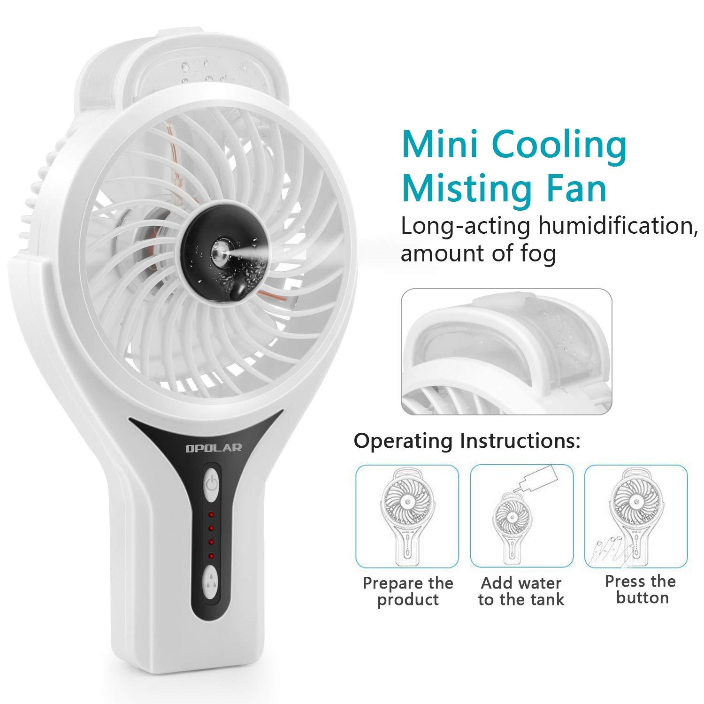 OPOLAR Handheld Misting Fan, Rechargeable Battery Operated Fan, 3 Settings, Water Spray Fan, Mini Portable Desk Fan, Humidifier Quiet Fan, 2200mAh Battery, Personal Cooling Fan for Outdoor, Home by OPOLAR (Image #4)