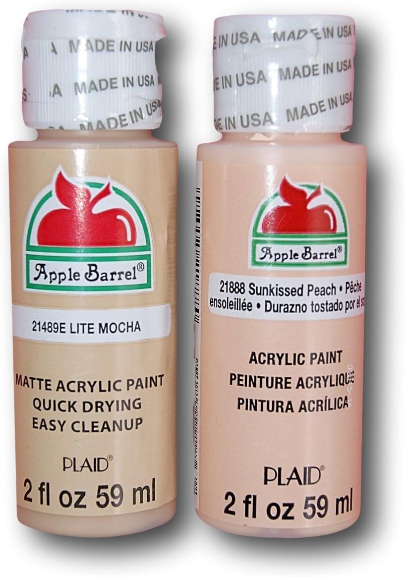 Amazon Com Apple Barrel Acrylic Paint Flesh Tones Set Lite Mocha Sunkissed Peach 2 Ounces Each