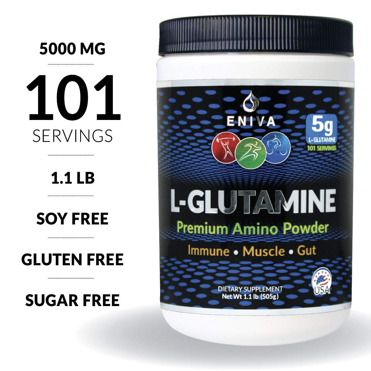 Eniva L-Glutamine Powder, 1.1-Pound, MAX Value 5000MG, 101 Servings. Micronized. Gluten Free. Non-GMO. Soy Free. Zero Sugar. Muscle Recovery, Immune Support and Amino Acid for Gut. by Eniva Health