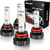 SEALIGHT 9005/HB3 High Beam H11/H9 Low Beam 14000LM LED Headlight Bulbs Combo Package CSP Chips 6000K Cool White