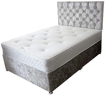 82675eb4870f ComfoRest 3FT Single NO DRAWERS Champagne Velvet IBEX Divan Bed Set -Base,  Memory Mattress