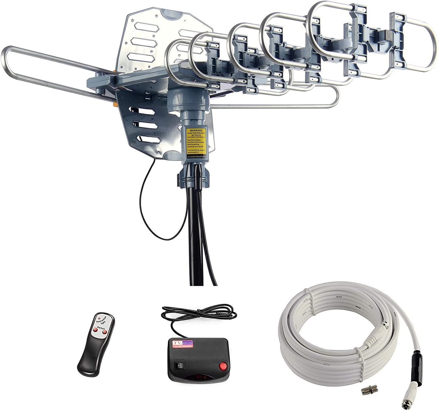 McDuory Digital Outdoor Antenna 2020 Updated Long Range 360 Degree Rotation VHF UHF HDTV Signal with Infrared Remote Controller for 2 TVs