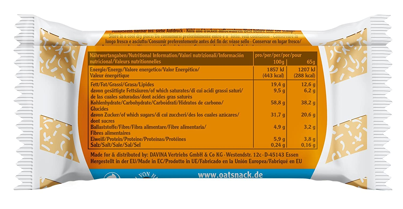 Davina Oat Snack Riegel Barrita - 65 gr: Amazon.es: Salud y cuidado personal