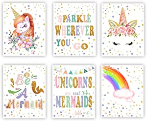 Unicorn Mermaid Posters Rainbow Unicorn Canvas Wall Art Prints Painting Set of 6 Kids Nursery or Girls Bedroom Wall Decor Gift (UNFRAMED)