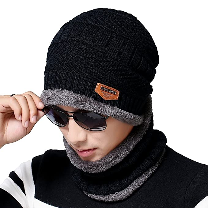 dc7a798009d Men s Beanie Hat Scarf Set Knit Hat Warm Thick Winter Hat (Black) at ...