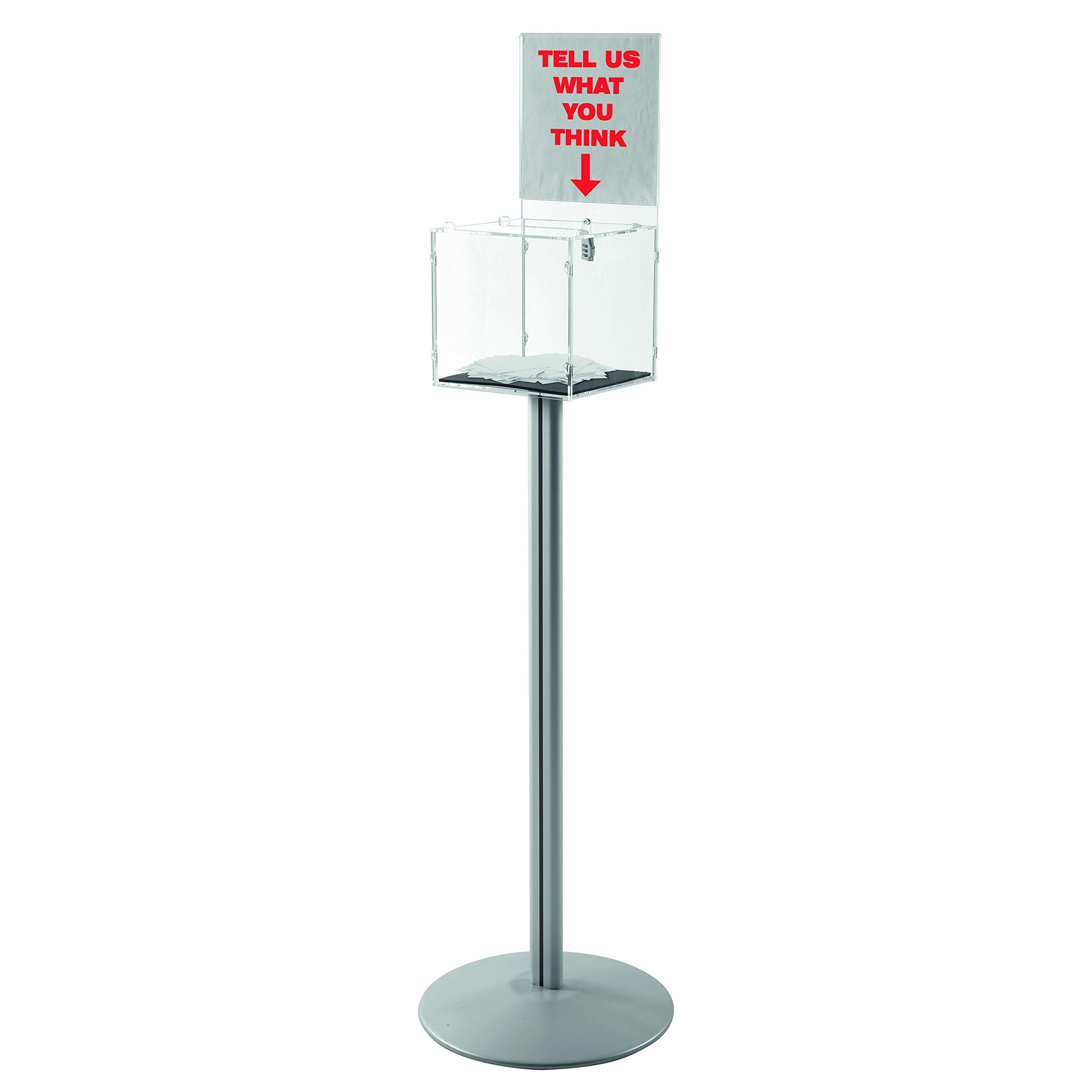 Free Standing Clear Acrylic Donation Raffle Ballot Box with Header and Lock (12x12) by M&T Displays