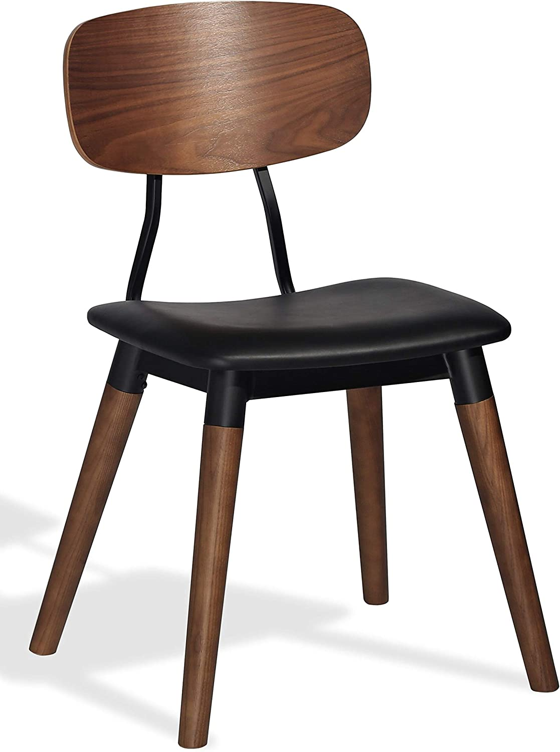 Harmony Modern Edna Dining Chair in a Black High Grade Faux Leather (PPM-S) Soft Seat with a Solid Ash Walnut Finish with a Black Frame