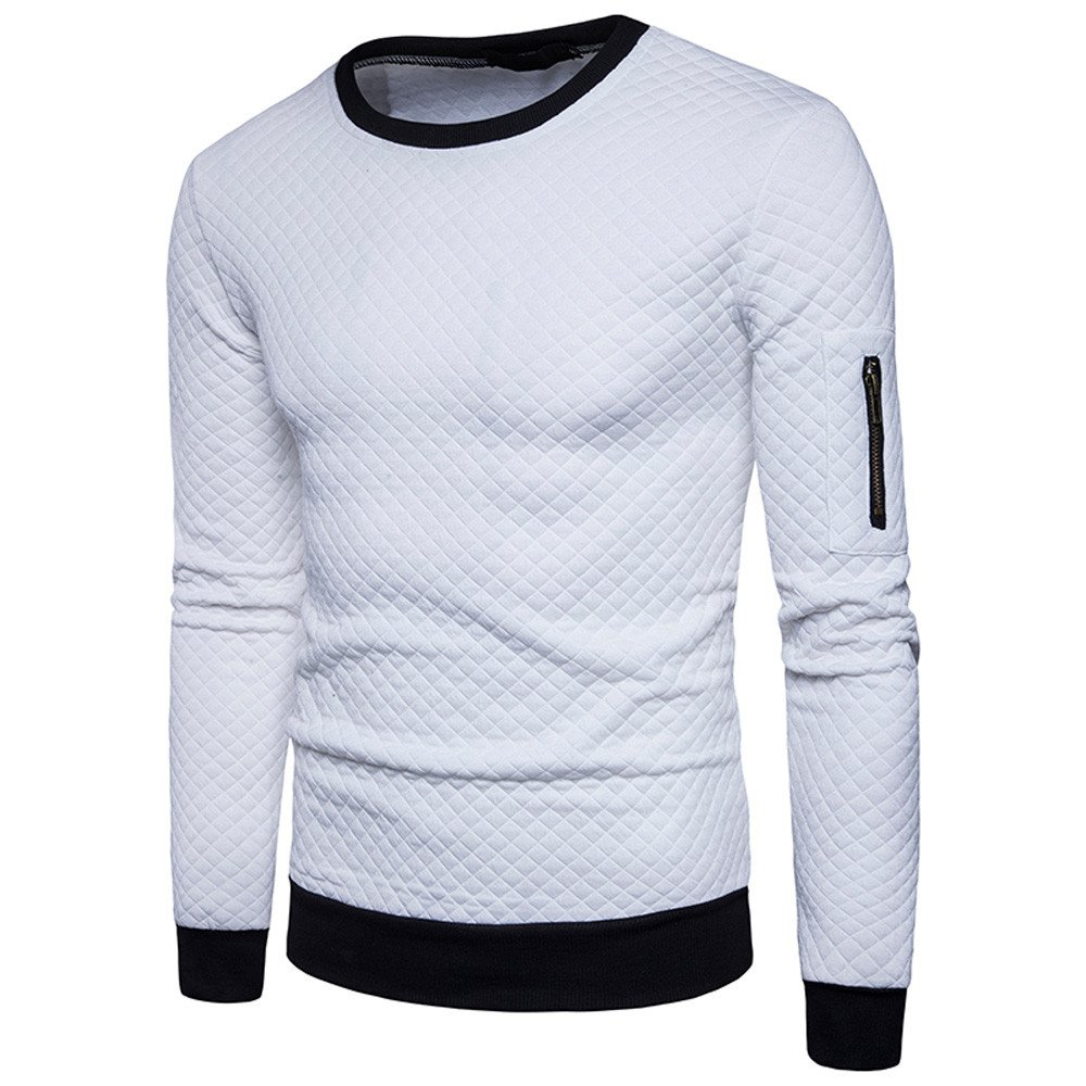 Farjing Sweatshirt for Men,Clearance Sale Mens' Autumn Winter Plaid Hedging Sweatshirt Tops Jacket Coat Outwe(S,White