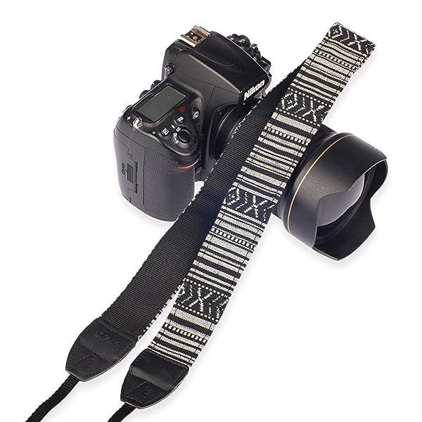 EGGSNOW CAMERA SHOULDER NECK STRAP VINTAGE - cinturón antideslizante para todas las cámaras DSLR (Nikon Canon Sony Pentax, etc.) - Tira Negro Blanco