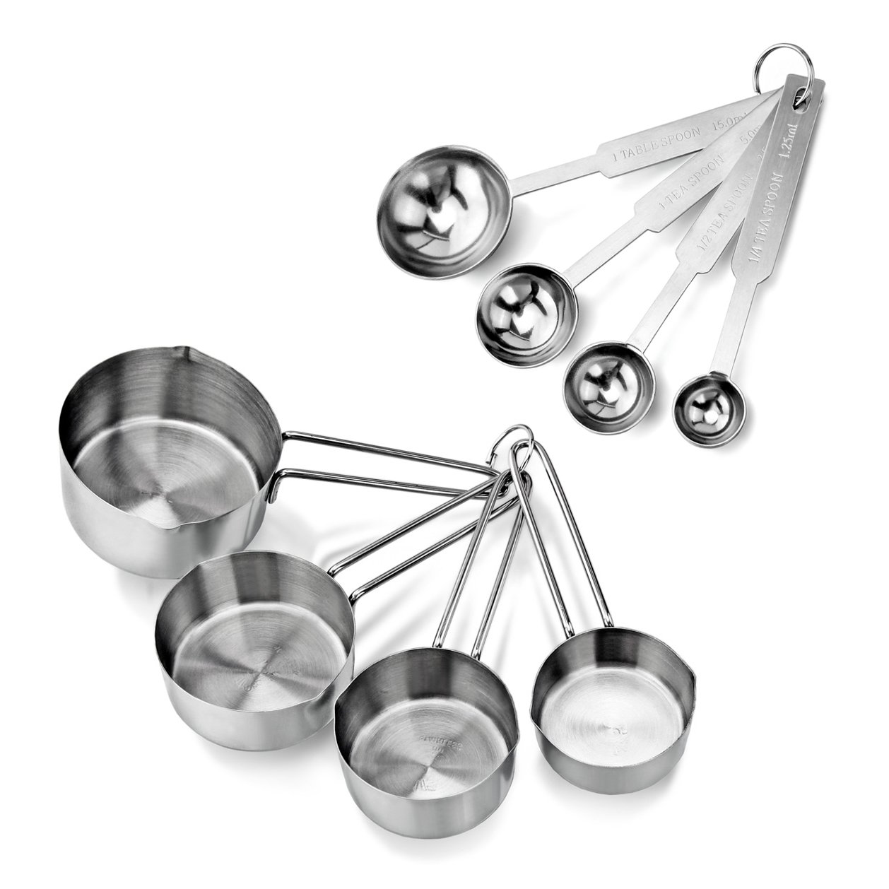 New Star Foodservice 42917 Stainless Steel Measuring Spoons and Measuring Cups Combo, Set of 8
