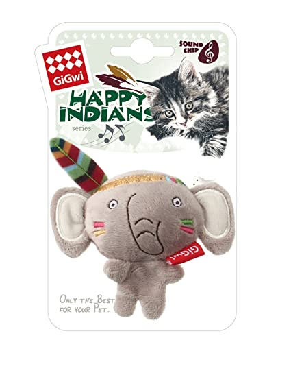 GiGwi Happy Indians 'Melody Chaser' Elephant w/motion activated sound chip