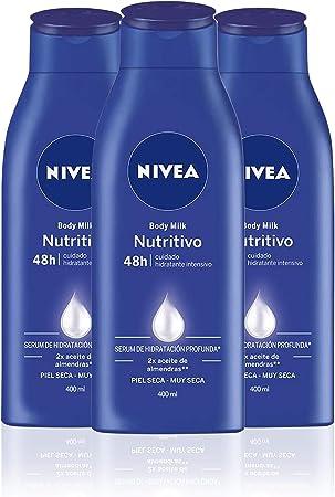 NIVEA Body Milk Nutritivo en pack de 3 (3 x 400 ml), leche corporal para una hidratación profunda durante 48 h, crema hidratante corporal con aceite de almendras
