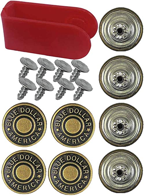 Taicanon 50 Sets Replacement Jean Buttons 17mm Vintage Metal Jeans Button Replacement Kit with Rivets and Metal Base in Plastic Storage Box
