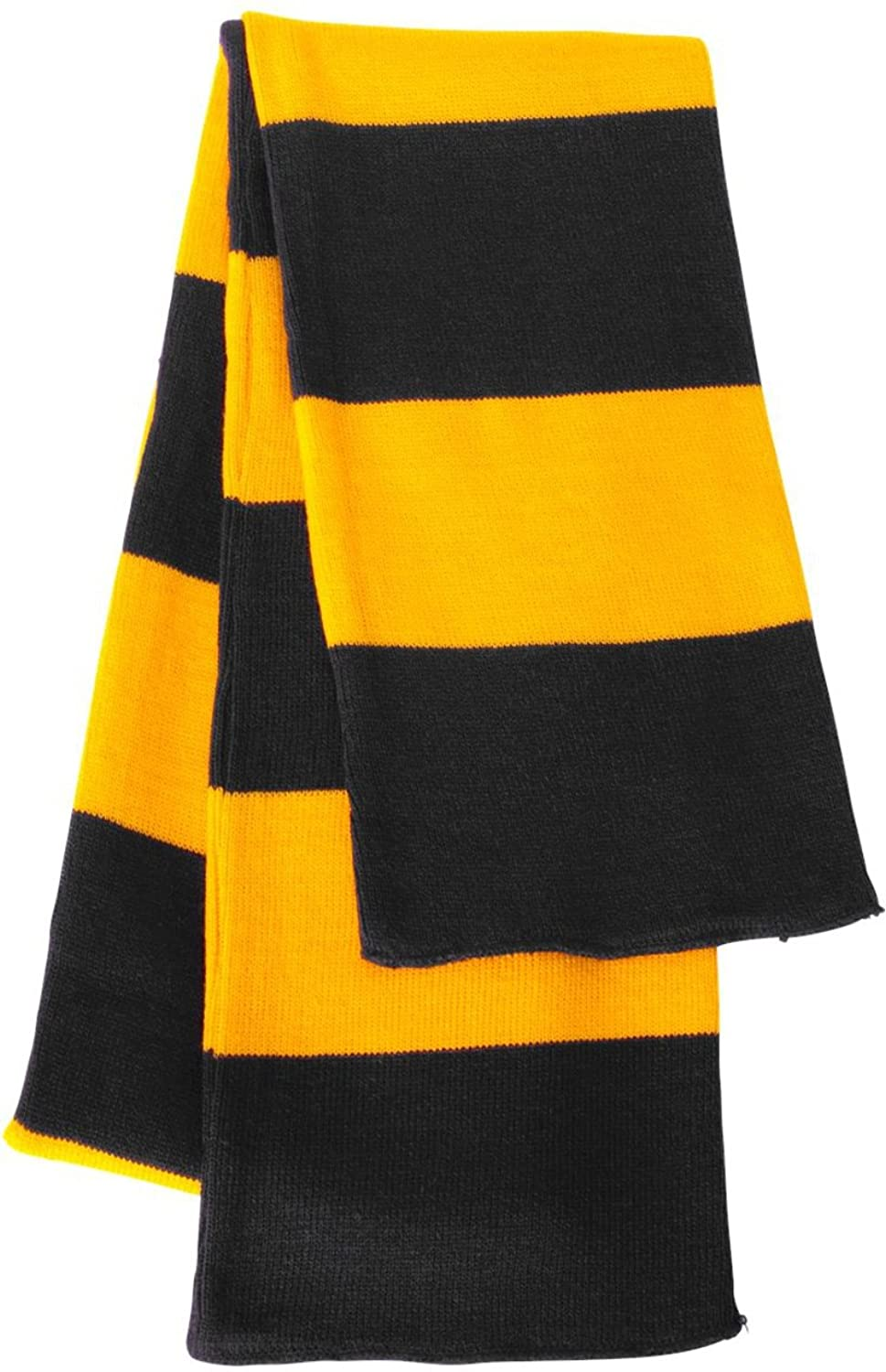 Amazon.com: Rugby Stiped Knit Scarf, Color: Black/ Gold, Size: One ...