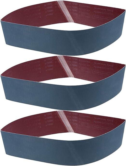 """6 PACK 3/"""" x 24/"""" Aluminum Oxide Sanding Belt Fine Kit 2 each 320 400 600 Grit"""