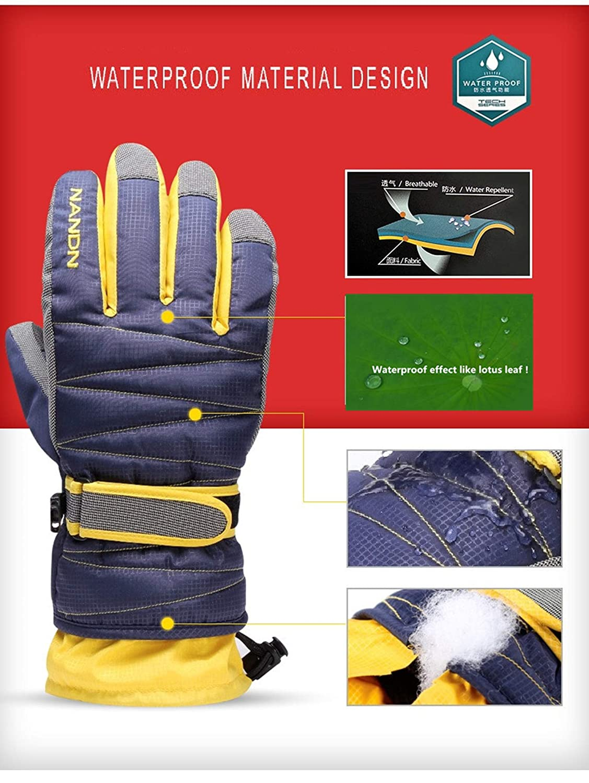 Maison K.W Guanti Sci Guanti Neve Invernali Snowboard Impermeabile Caldi Termica Antivento e Resistente allAbrasione per Uomo Donna Bambino