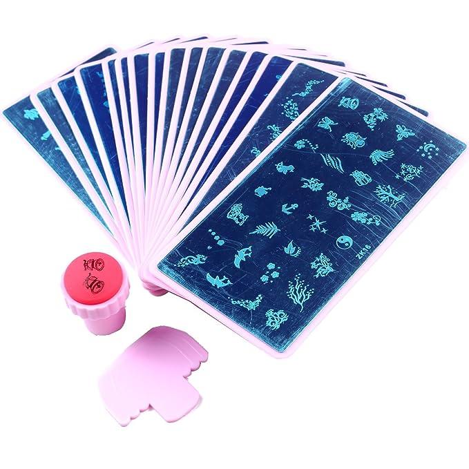 Diseño de ángel 16 piezas placa Stamping Nail Art mezcla de dedos uñas plantilla con soporte de color de rosa + 1 pieza rosa Color uñas estampador
