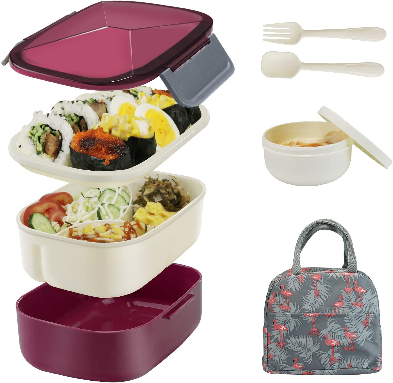 Bestjing Bento Lunch box for Adults, 54.1oz BPA Free Bento Box, 2 Tier &3 Compartment Design Food Containers for Lunch &Snacks, Built-in Utensil &Sauce Cup, Bundled with Insulated Lunch Bag (Dark Red)