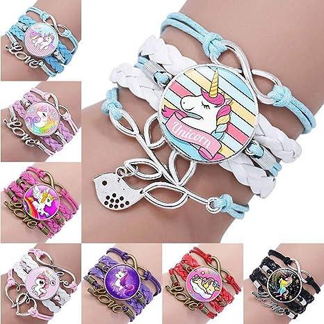Amazon.com: 8 pulseras de unicornio para niñas, regalo de ...