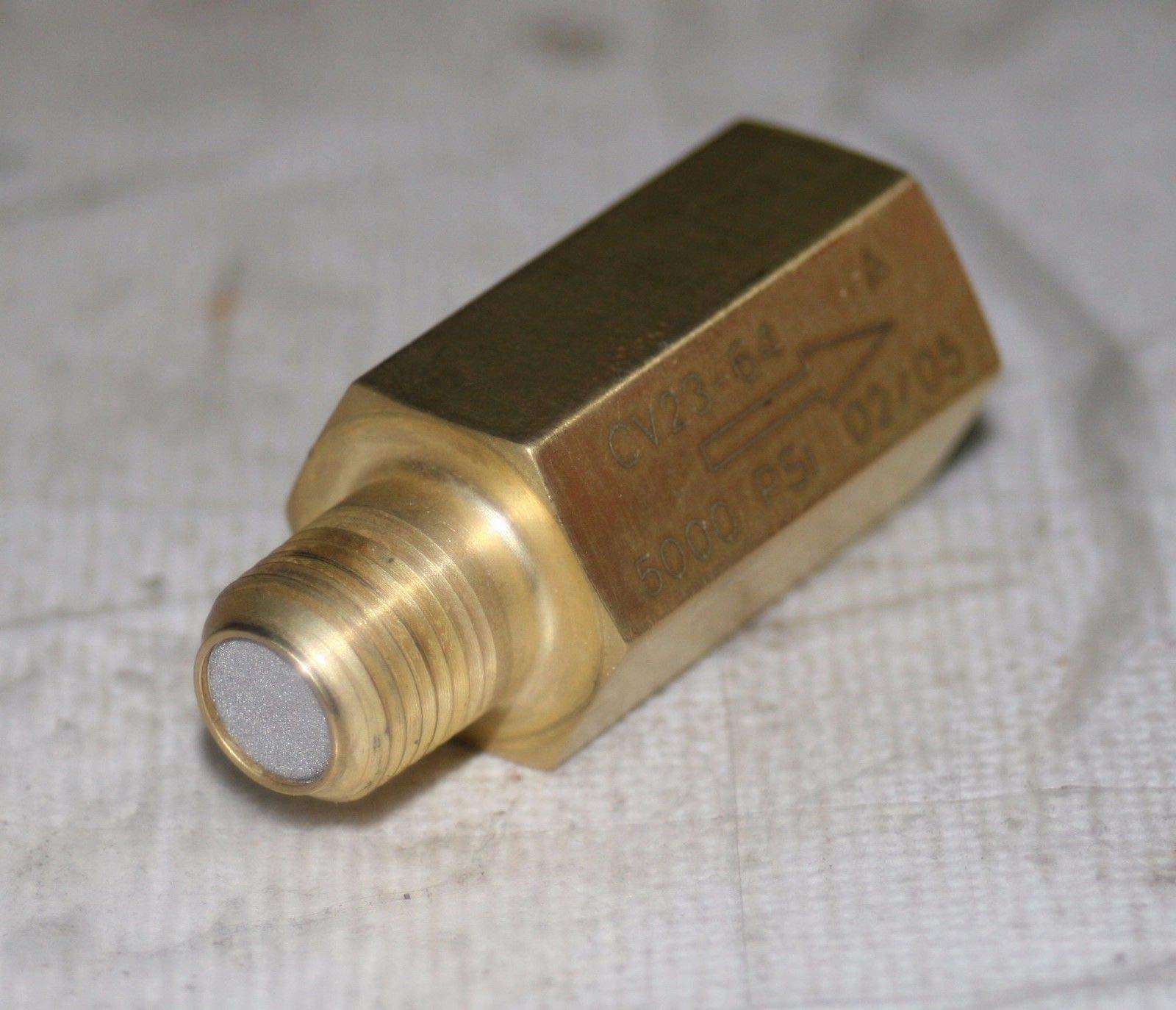 1/8'' Npt Brass Check Valve w/Particulate Filter (5000 Psi / 3 Psi Crack) Circle Seal Controls CV23-64