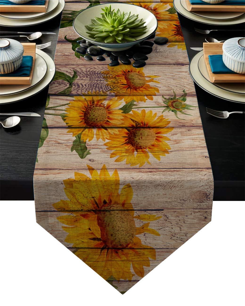 Family Decor リネン黄麻布テーブルランナー ドレッサースカーフ 素朴な木製板にひまわり カントリーテーマ 16 By 72 Inch 2019-2-18/XGL$$$$$$SLXM04760ZQADFAD 16 By 72 Inch  B07NWNMW39
