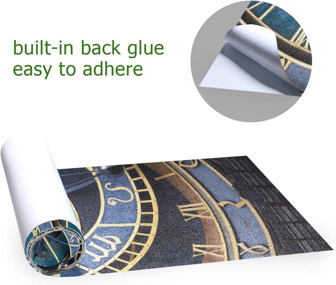 Nigbin Vintage European Clock Skateboard Grip Tape Sheet Bubble Free Longboard Griptape Graphic 33X 9 Sheets Stickers