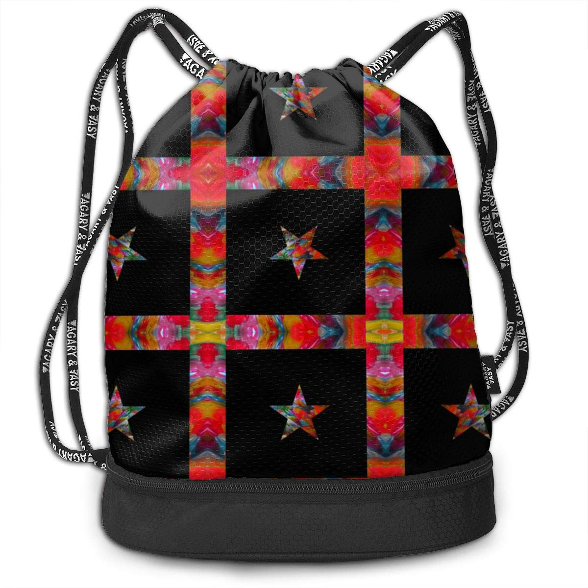 Star On Black Drawstring Backpack Sports Athletic Gym Cinch Sack String Storage Bags for Hiking Travel Beach