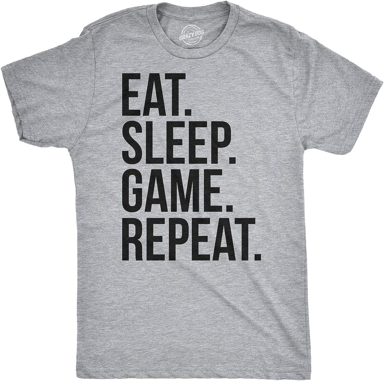 Mens Eat Sleep Game Repeat Funny Shirts Nerdy Gamer Tees Vintage Novelty T Shirt