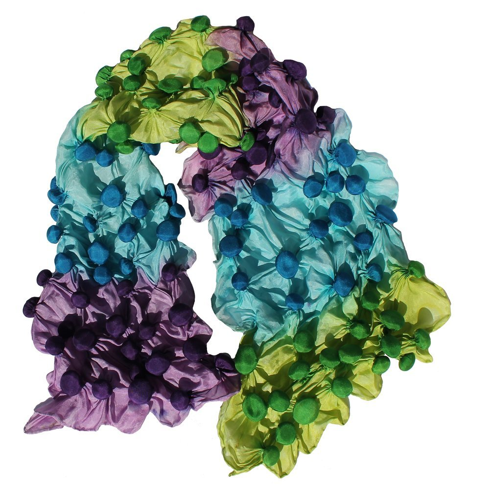 Bubble Shibori Hand Painted Silk Scarf in Lilac, Blue and Lime Green