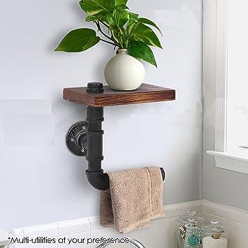 DIY Industrial Retro Wood U0026 Black Pipe Metal Wall Mounted Bathroom Shelf  Toilet Paper Roll Holder