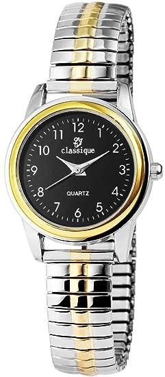 Reloj Mujer Negro Plata Oro analógico de Cuarzo Metal y alemán Cordón Números Arábigos Reloj de