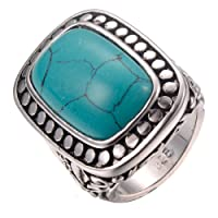 CYWNA Turquoise White Gold Plated Engagement Wedding Party Ring Size 6-10