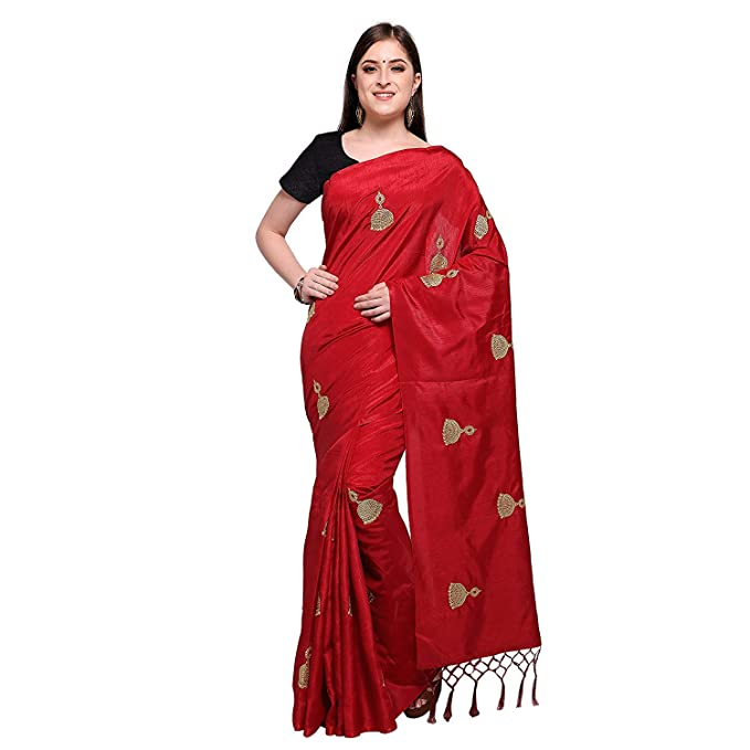 aec1fed19ae116 Craftsvilla Women s Chanderi Cotton Resham Embroidery Red Saree with Blouse  piece  Amazon.in  Clothing   Accessories