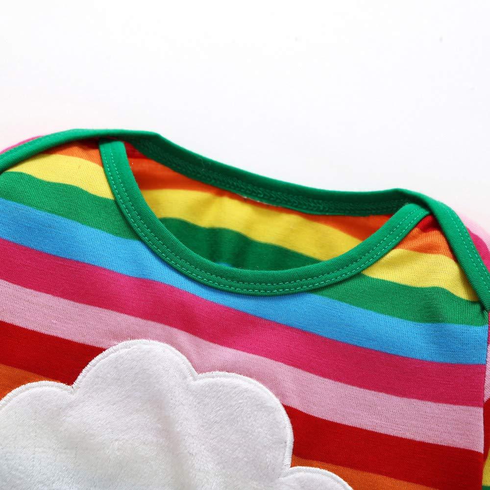 Lenfesh Kleinkind Kinder Baby M/ädchen Junge Regenbogen-T-Shirt /übersteigt Gestreifte Ausstattungs Kleidung Kinder Pullover Pyjama Outfits Set