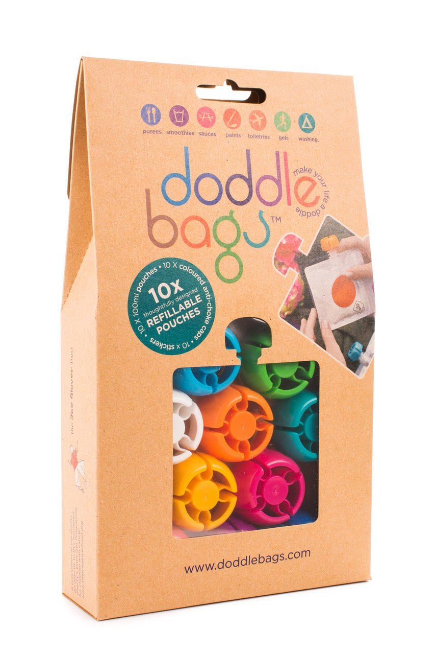 Doddlebags 10 Reusable Pouches, Easy Fill & Clean for Travel, Sport, Baby Food, Gym DB010/10