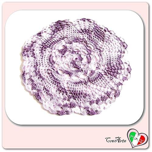 Tapete pequeño lila de ganchillo en algodón - Tamaño: ø 22.5 cm ...