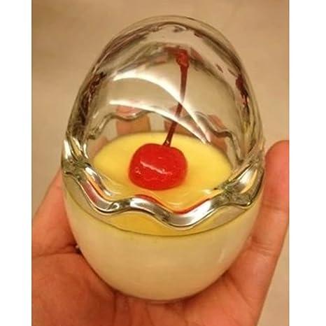 Gosear 2 Piezas Taza de Cristal Vaso de Almacenamiento Transparente Bricolaje para Hornear Gelatina con Leche Bizcocho Yogur Fiesta Hogar,Forma de Huevo: ...