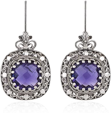 Filigree Handmade Silver Earrings Ruby Earrings Flower Detailed Earrings Amethyst Earrings Sapphire Earrings Emerald Earrings