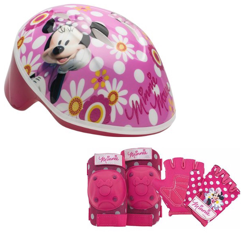 Disney Girls Minnie Mouse Toddler Skate / Bike Helmet Pads & Gloves - 7 Piece Set