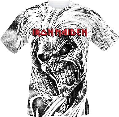 Iron Maiden Killers Allover Hombre Camiseta Blanco, Regular: Amazon.es: Ropa y accesorios