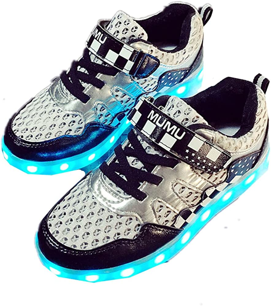 A2kmsmss5a Kids LED Light Up Shoes Girls Boys USB Charging Flashing Sneakers Blue