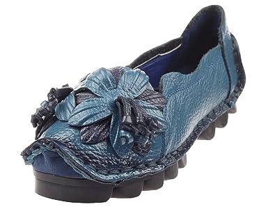 c1fba8489c93e6 Vogstyle Damen Frühjahr Sommer Weinlese Blumen Handgemachte Lederschuhe  Flats Art 1 Blue EU35 CH35